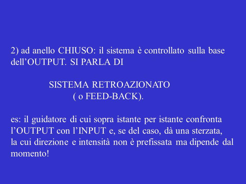2) ad anello CHIUSO: il sistema è controllato sulla base