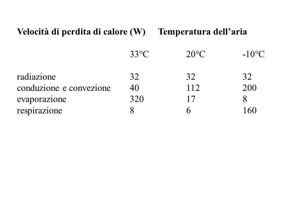 Velocità di perdita di calore (W) Temperatura dell'aria