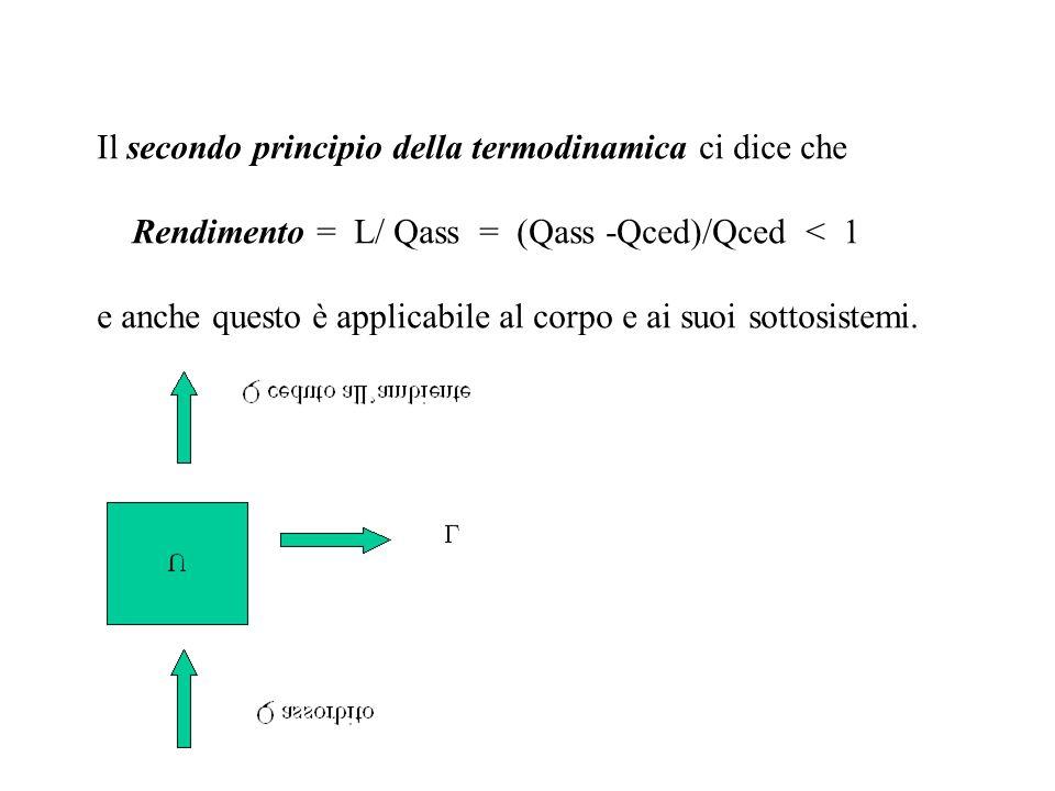 Il secondo principio della termodinamica ci dice che