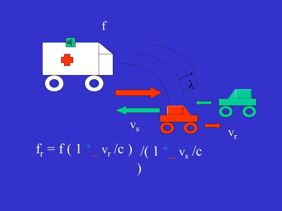 f l vs vr fr = f ( 1 +_ vr /c ) /( 1 +_ vs /c )