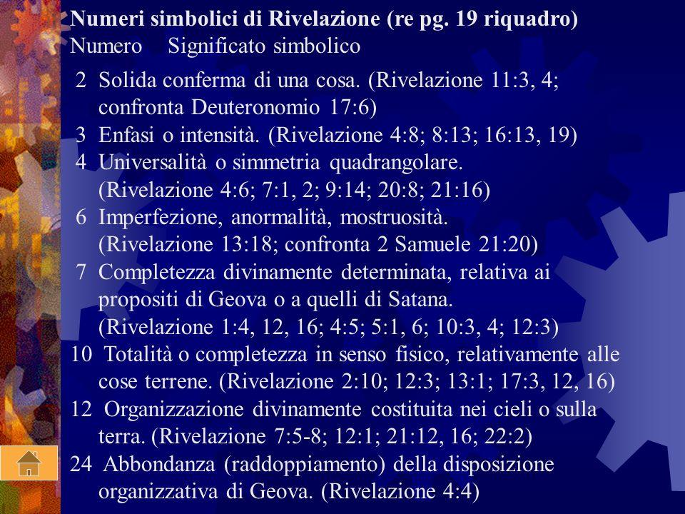Numeri simbolici di Rivelazione (re pg. 19 riquadro)