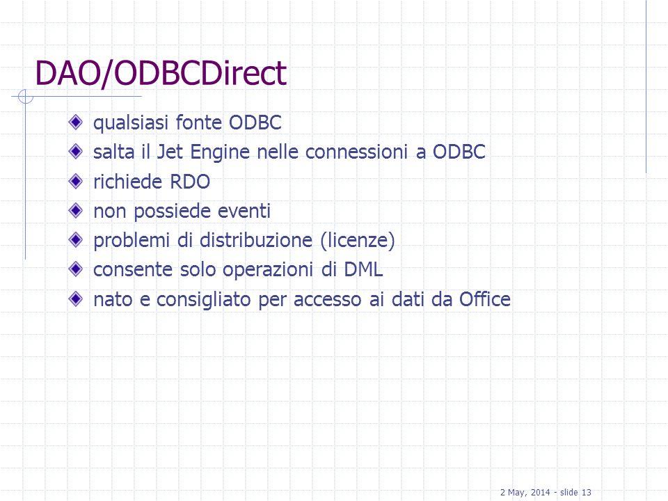 DAO/ODBCDirect qualsiasi fonte ODBC