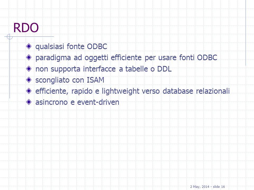 RDO qualsiasi fonte ODBC