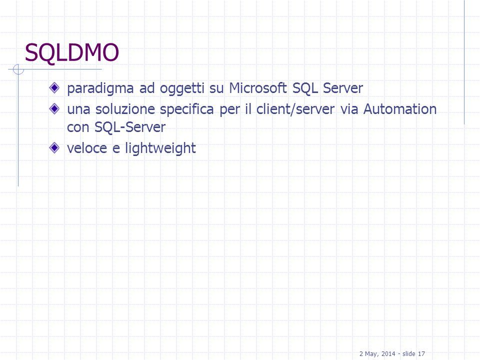 SQLDMO paradigma ad oggetti su Microsoft SQL Server