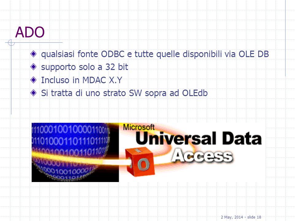 ADO qualsiasi fonte ODBC e tutte quelle disponibili via OLE DB