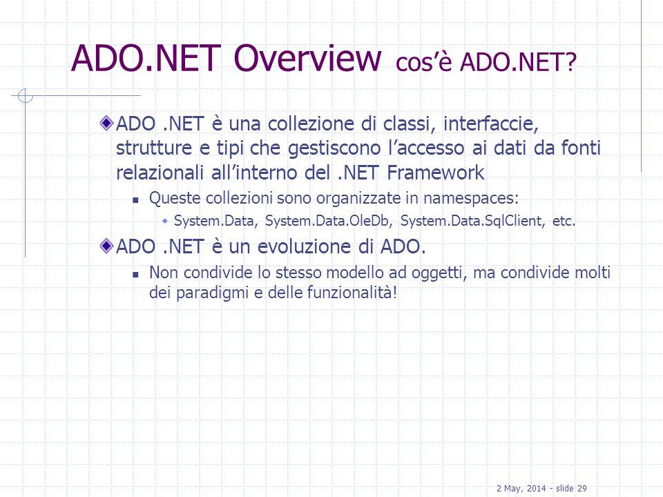 ADO.NET Overview cos'è ADO.NET