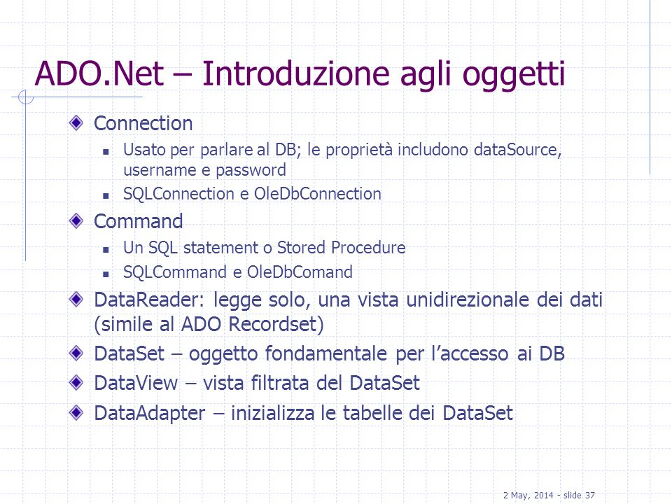 ADO.Net – Introduzione agli oggetti