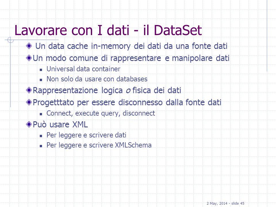 Lavorare con I dati - il DataSet