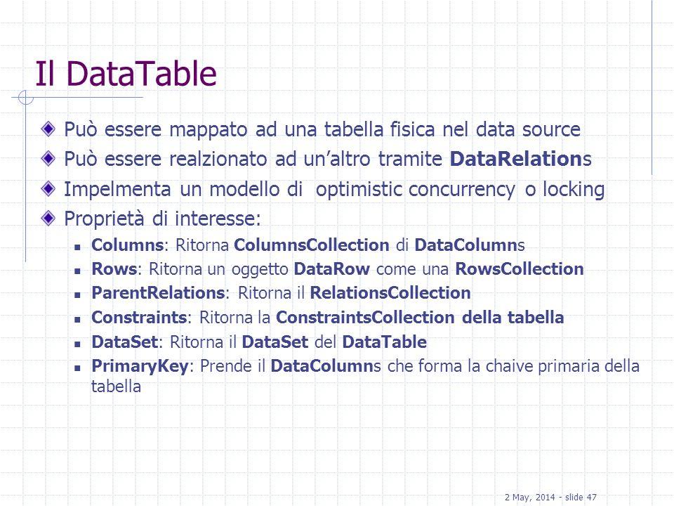Il DataTable Può essere mappato ad una tabella fisica nel data source