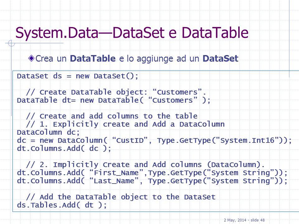 System.Data—DataSet e DataTable