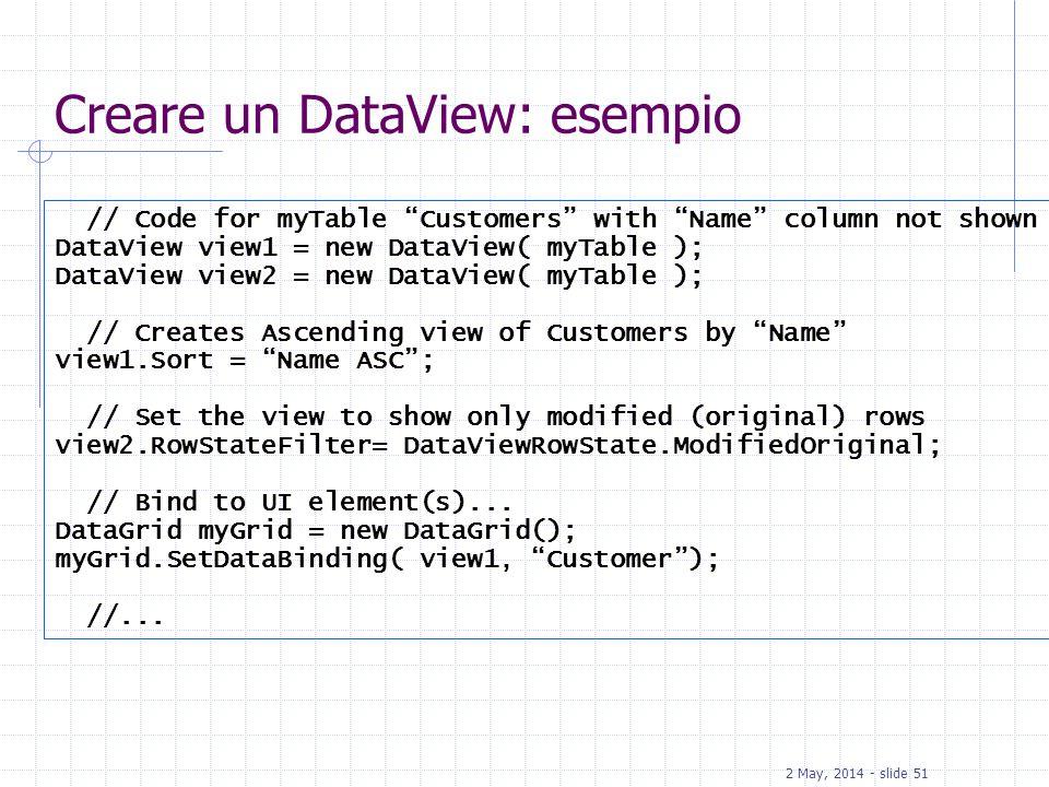 Creare un DataView: esempio