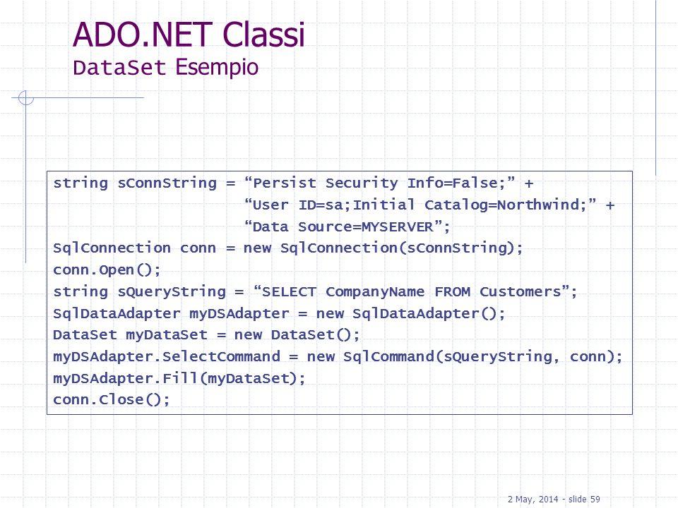 ADO.NET Classi DataSet Esempio