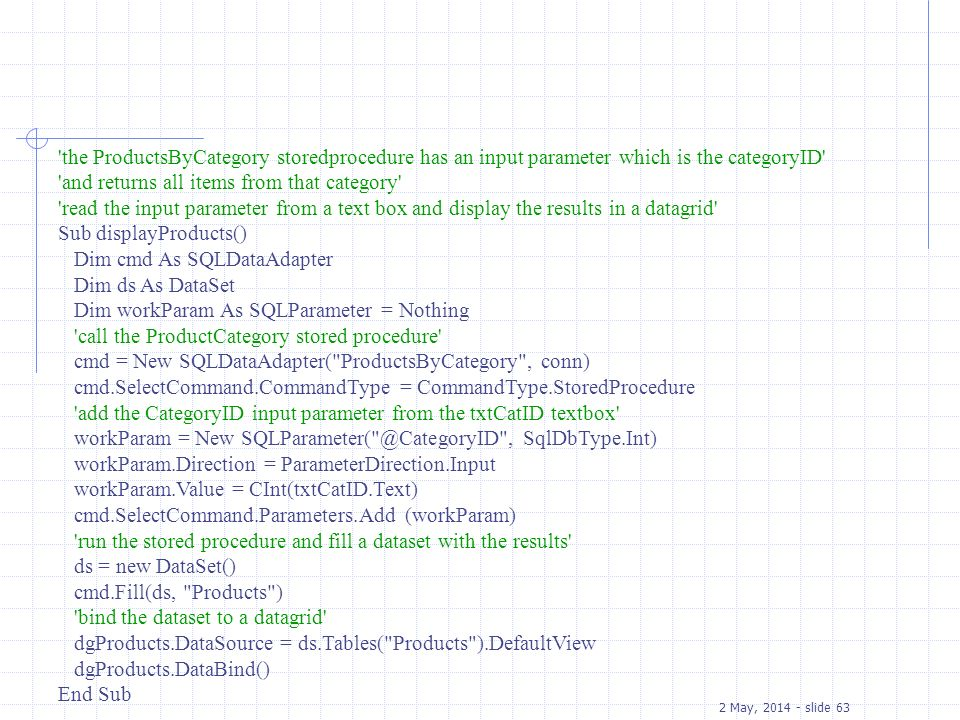 the ProductsByCategory storedprocedure has an input parameter which is the categoryID