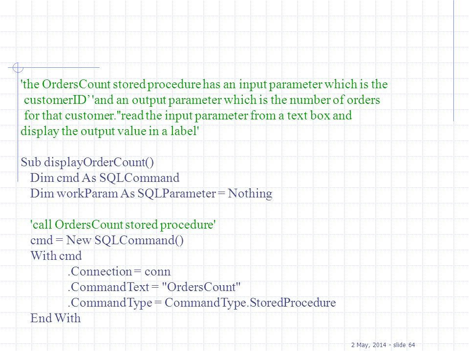 the OrdersCount stored procedure has an input parameter which is the
