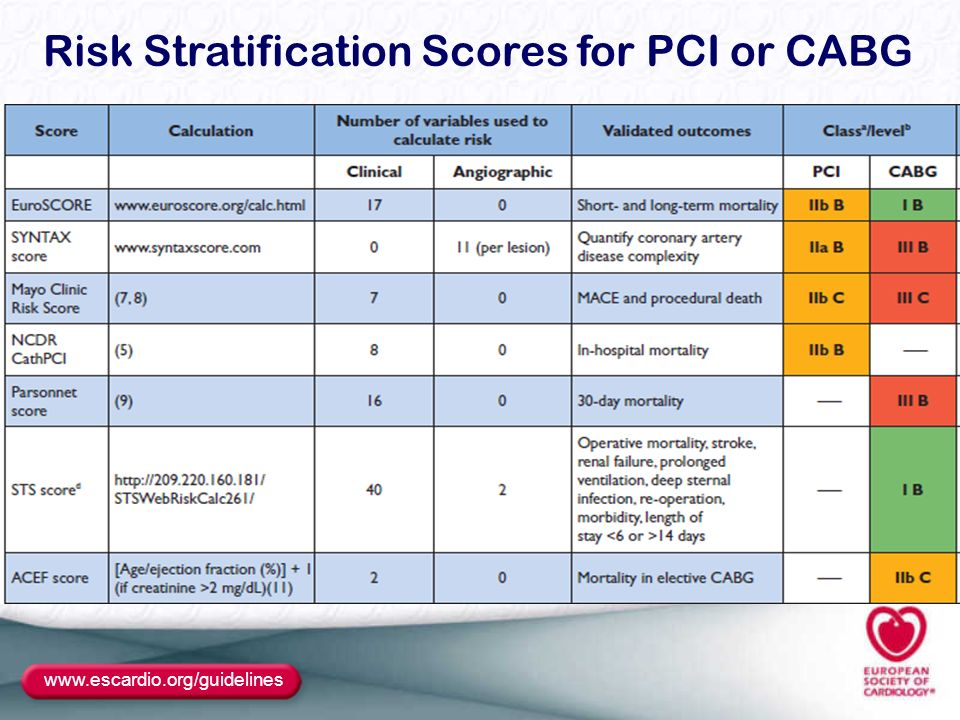 Risk Stratification Scores for PCI or CABG