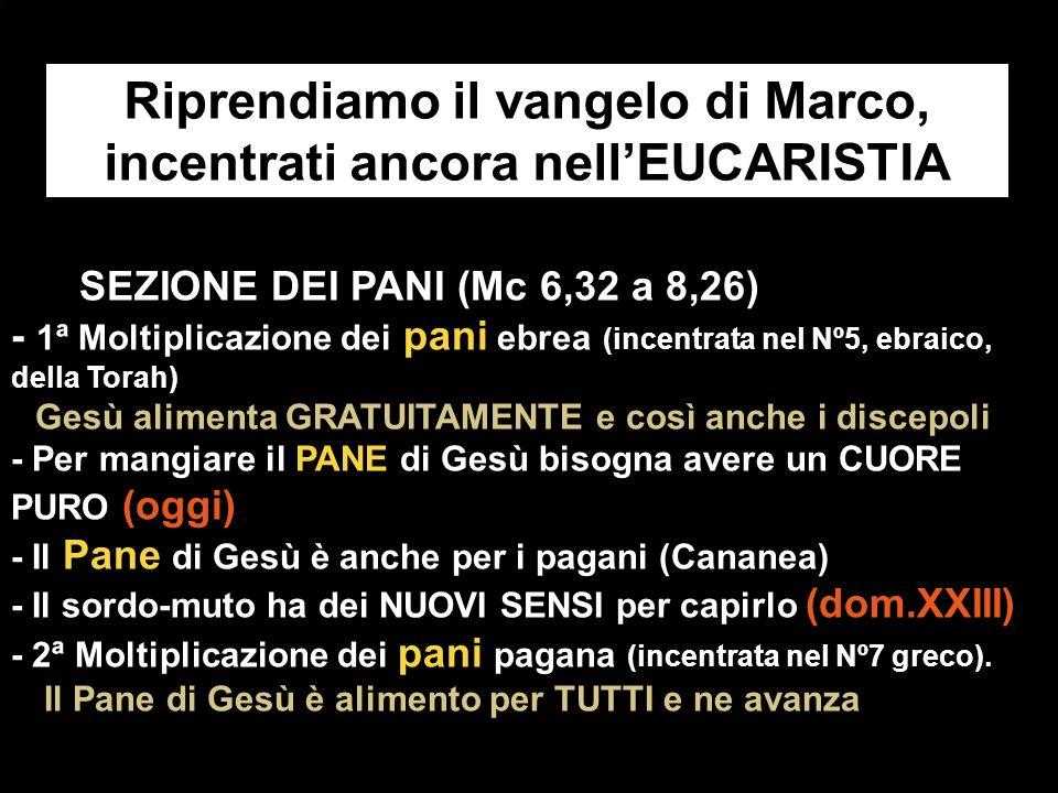 Riprendiamo il vangelo di Marco, incentrati ancora nell'EUCARISTIA