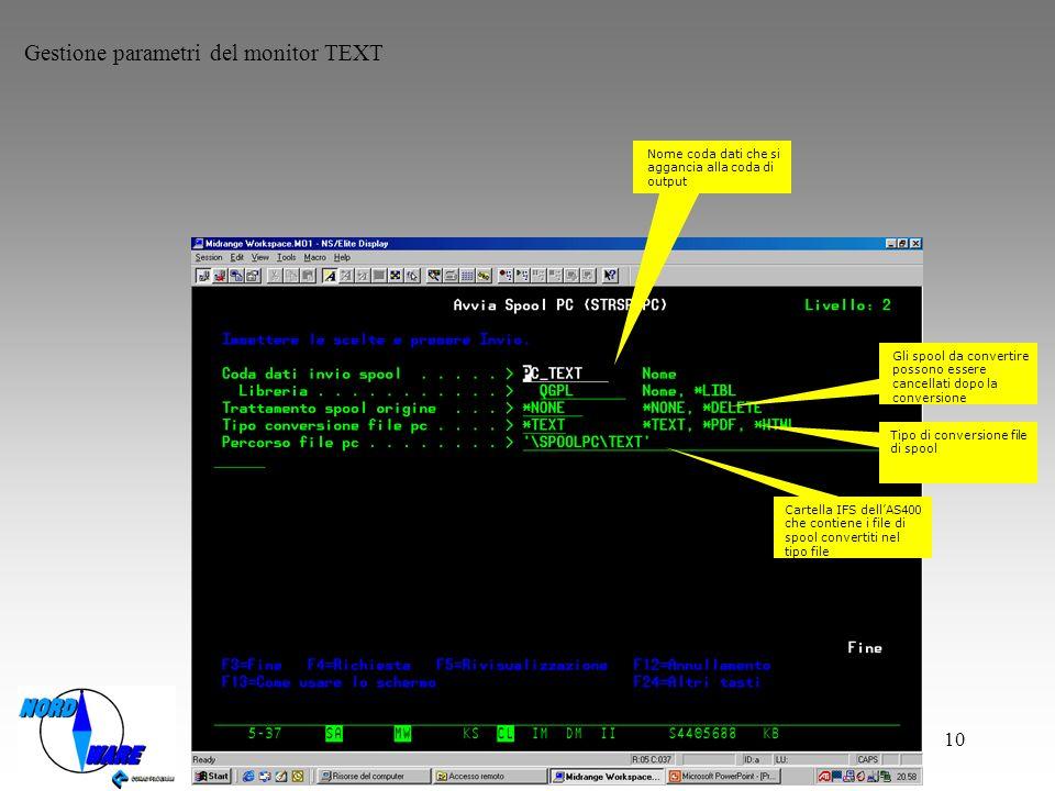 Gestione parametri del monitor TEXT