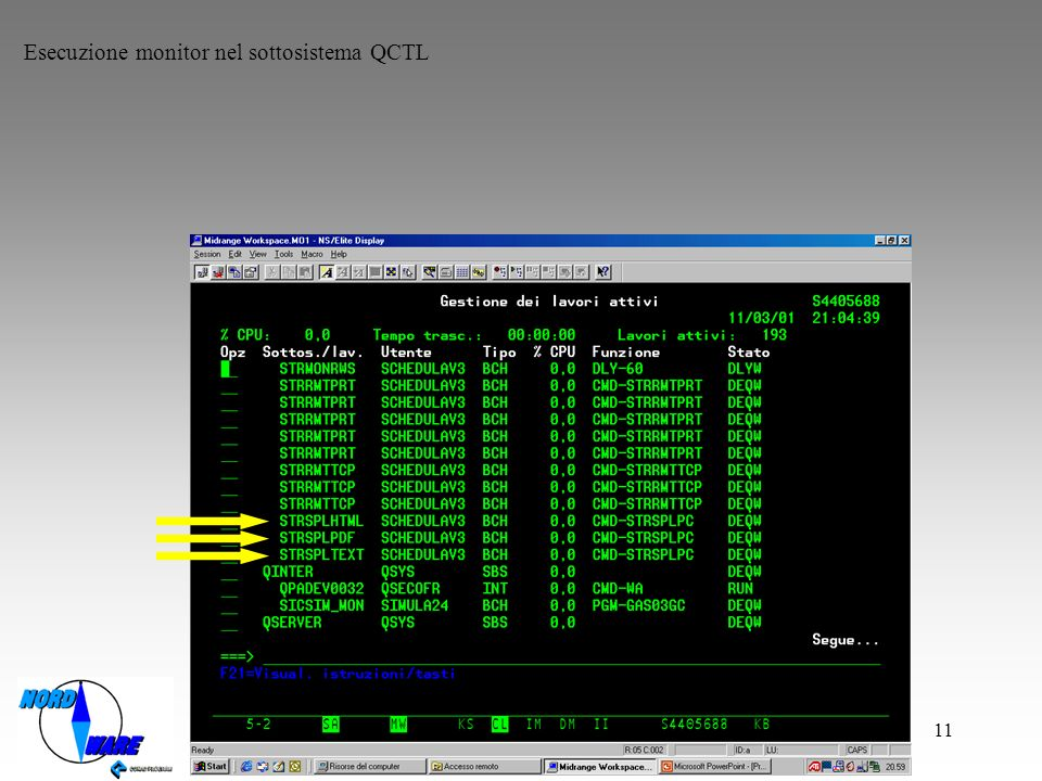 Esecuzione monitor nel sottosistema QCTL