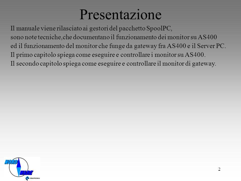 Presentazione Il manuale viene rilasciato ai gestori del pacchetto SpoolPC, sono note tecniche,che documentano il funzionamento dei monitor su AS400.
