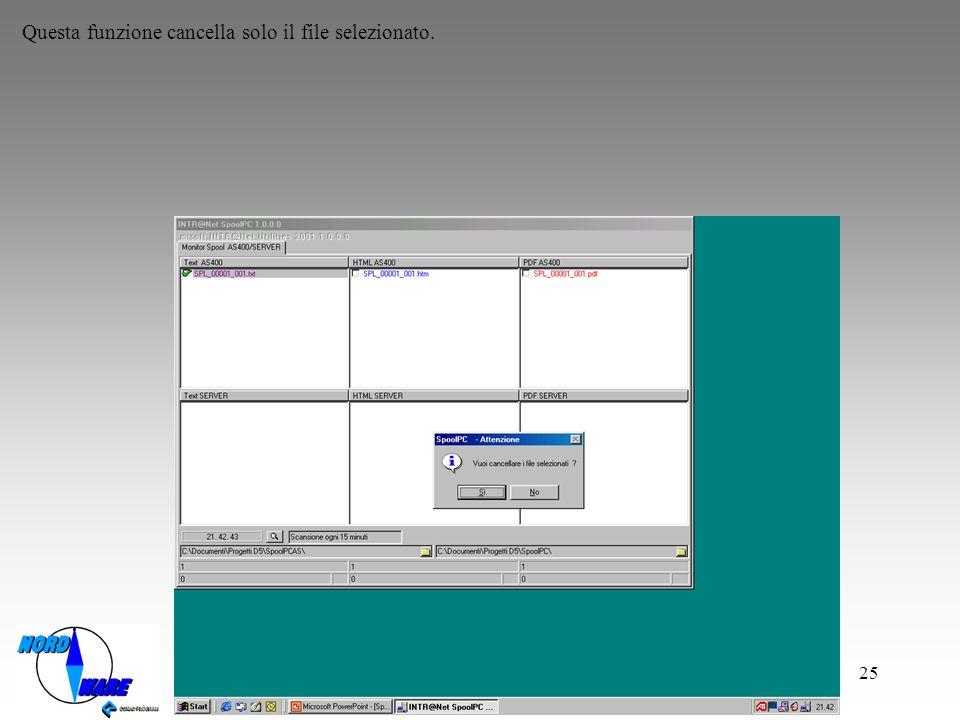 Questa funzione cancella solo il file selezionato.