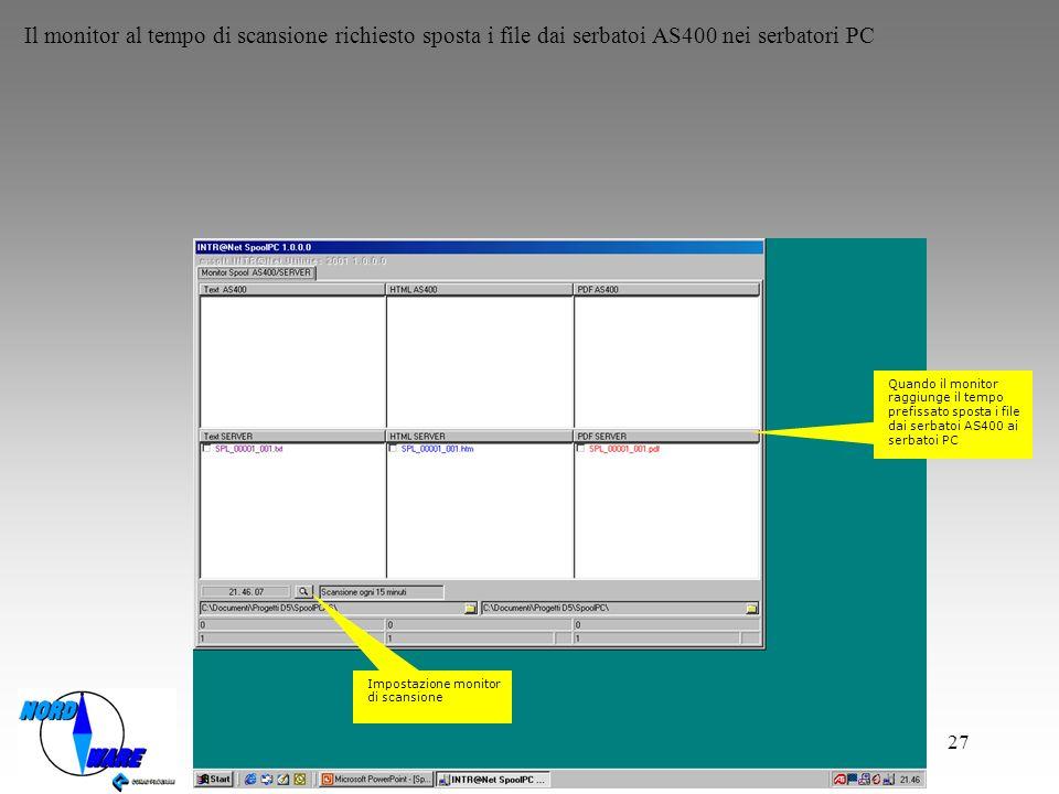 Il monitor al tempo di scansione richiesto sposta i file dai serbatoi AS400 nei serbatori PC
