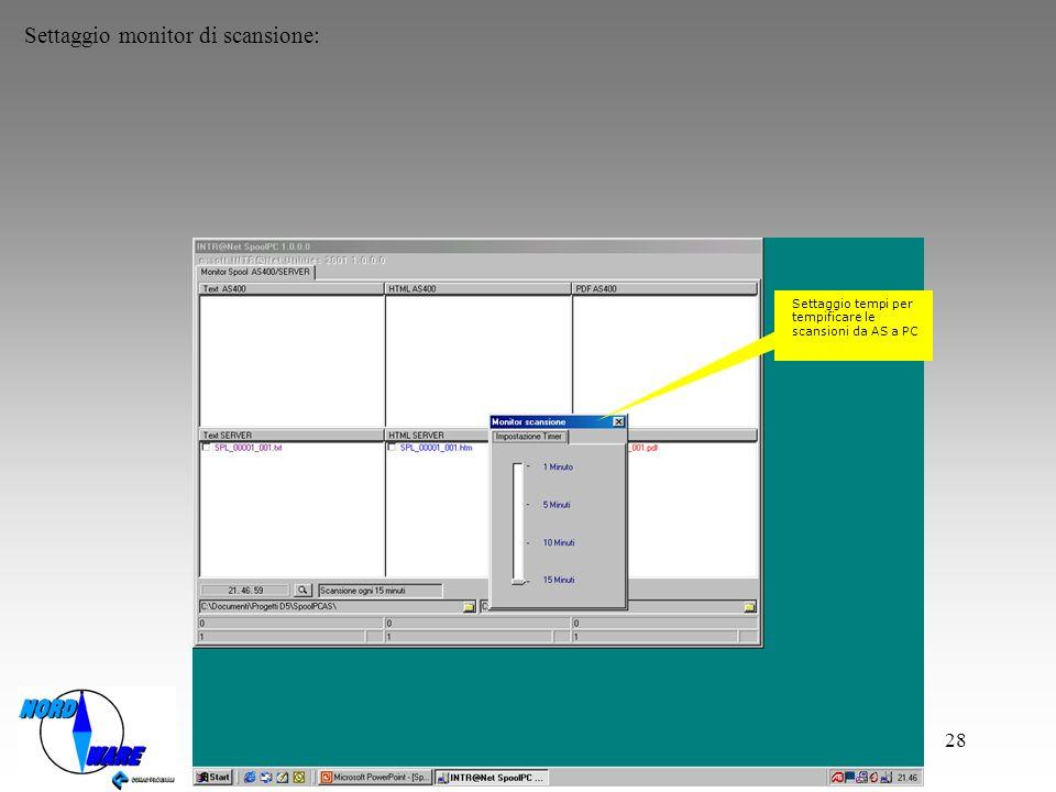 Settaggio monitor di scansione: