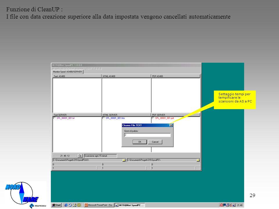 Funzione di CleanUP : I file con data creazione superiore alla data impostata vengono cancellati automaticamente.