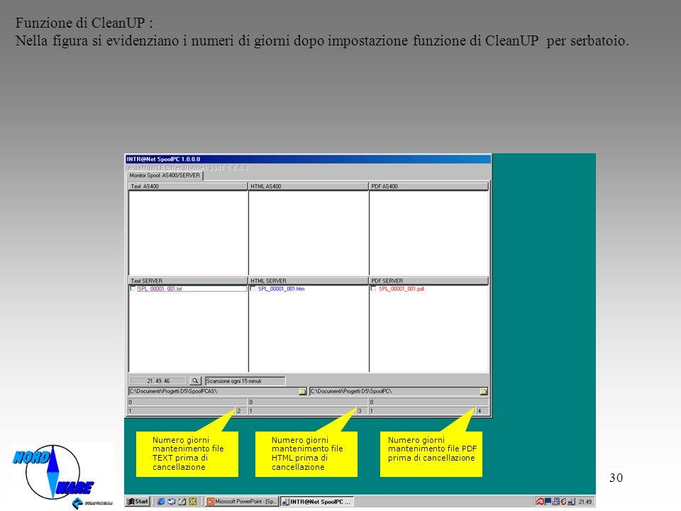 Funzione di CleanUP : Nella figura si evidenziano i numeri di giorni dopo impostazione funzione di CleanUP per serbatoio.