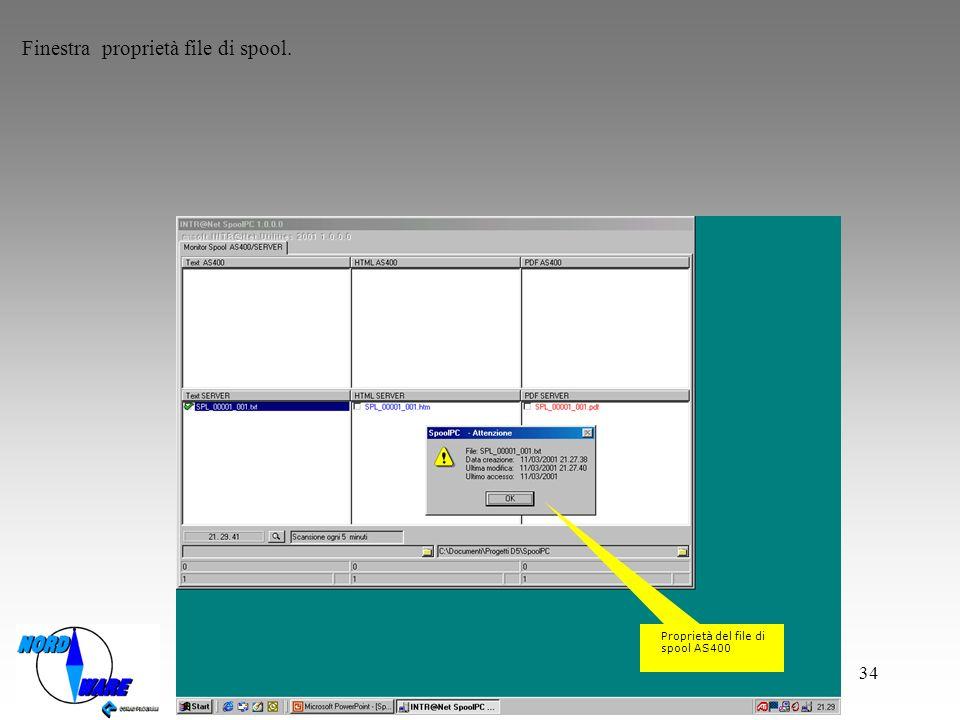 Finestra proprietà file di spool.
