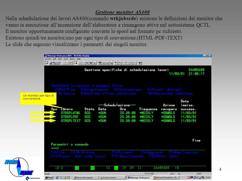 Le slide che seguono visualizzano i parametri dei singoli monitor.