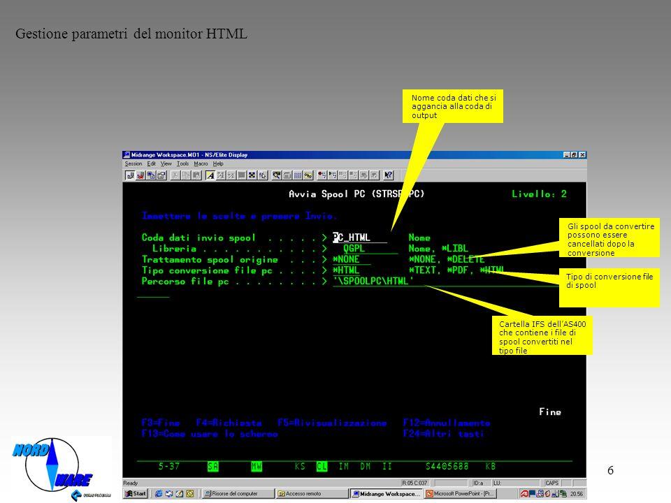 Gestione parametri del monitor HTML