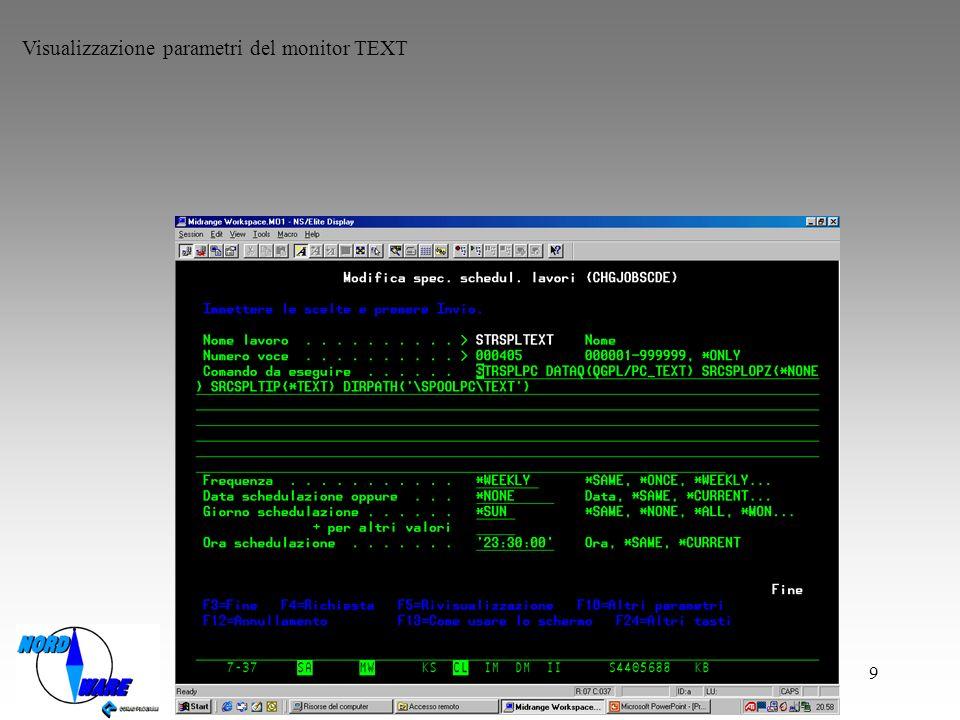 Visualizzazione parametri del monitor TEXT