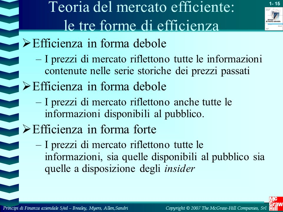 Teoria del mercato efficiente: le tre forme di efficienza