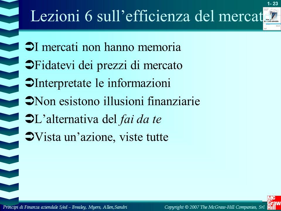 Lezioni 6 sull'efficienza del mercato