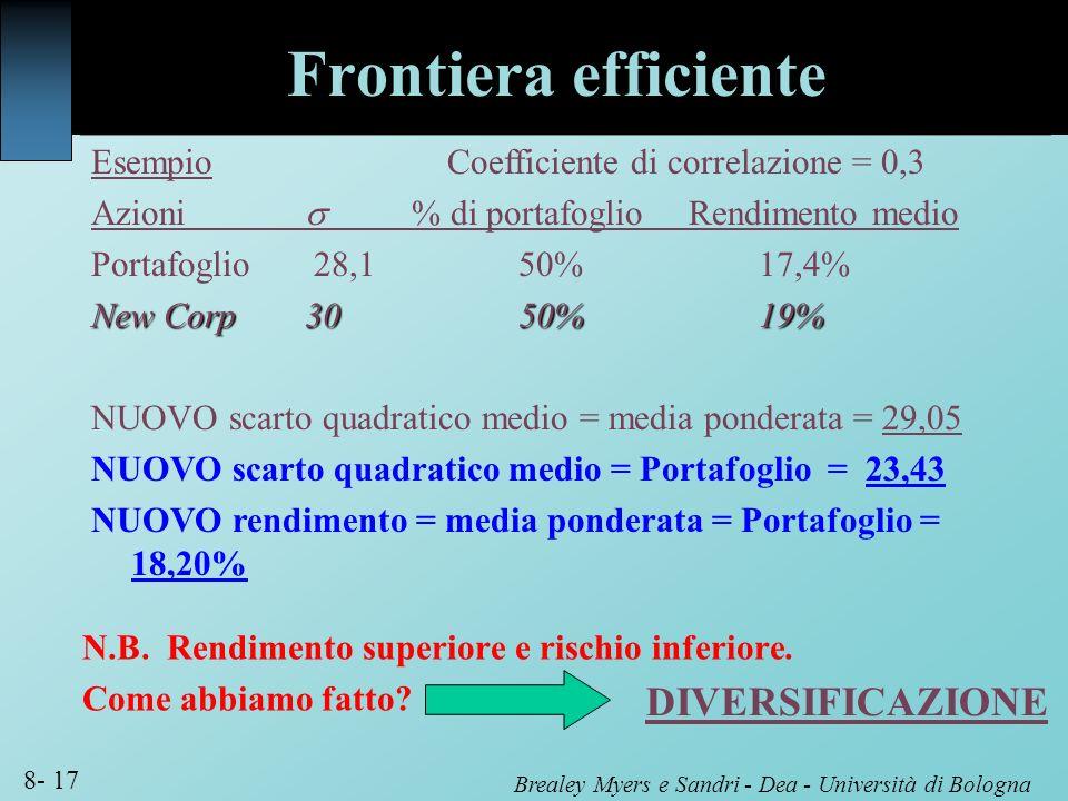 Frontiera efficiente DIVERSIFICAZIONE