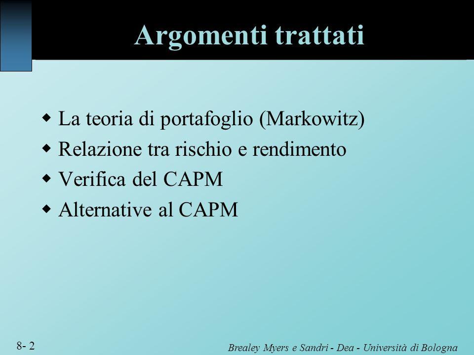 Argomenti trattati La teoria di portafoglio (Markowitz)