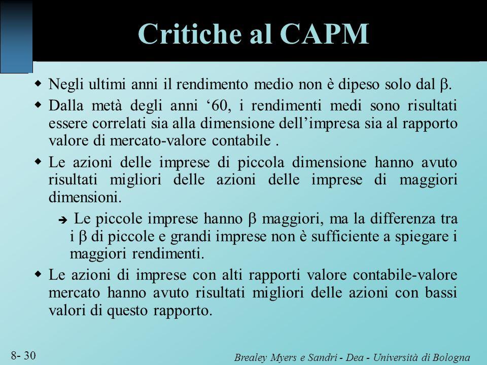 Critiche al CAPM Negli ultimi anni il rendimento medio non è dipeso solo dal b.