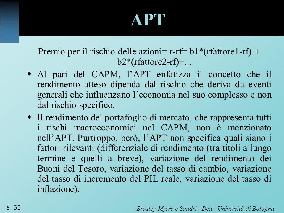 APT Premio per il rischio delle azioni= r-rf= b1*(rfattore1-rf) + b2*(rfattore2-rf)+...