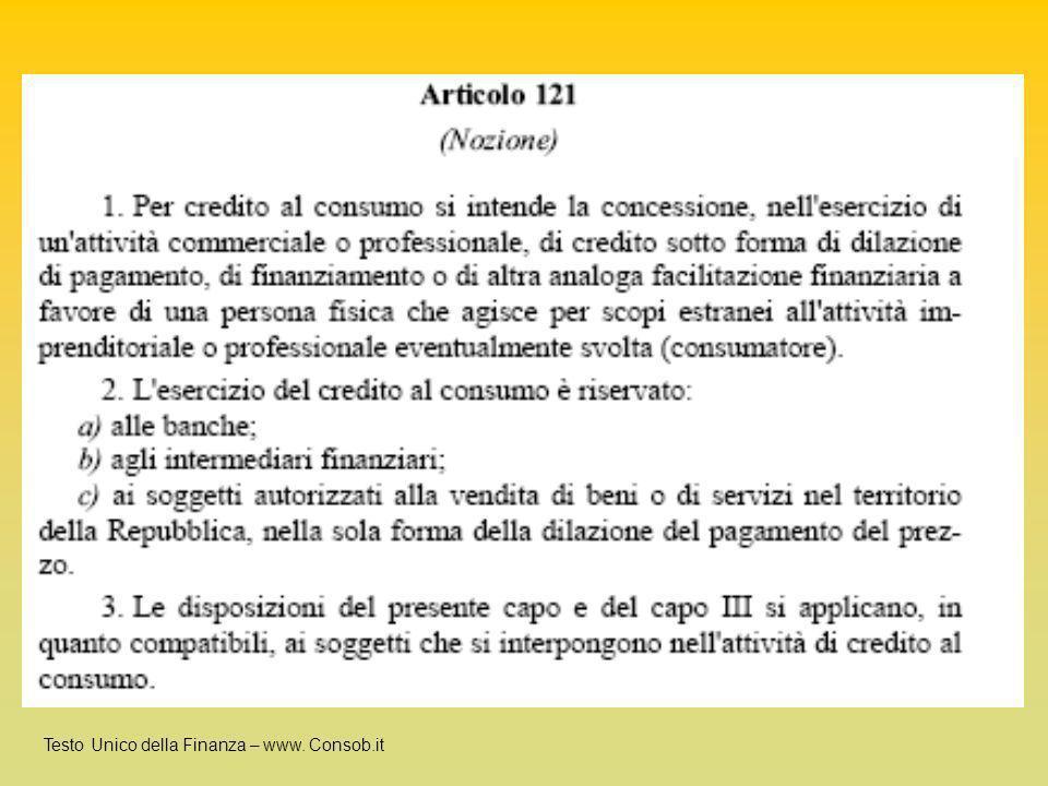 Testo Unico della Finanza – www. Consob.it
