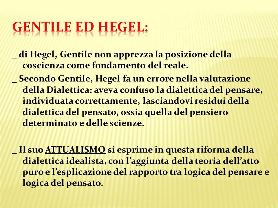 Gentile ed hegel: