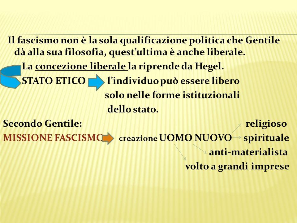 Il fascismo non è la sola qualificazione politica che Gentile dà alla sua filosofia, quest'ultima è anche liberale.