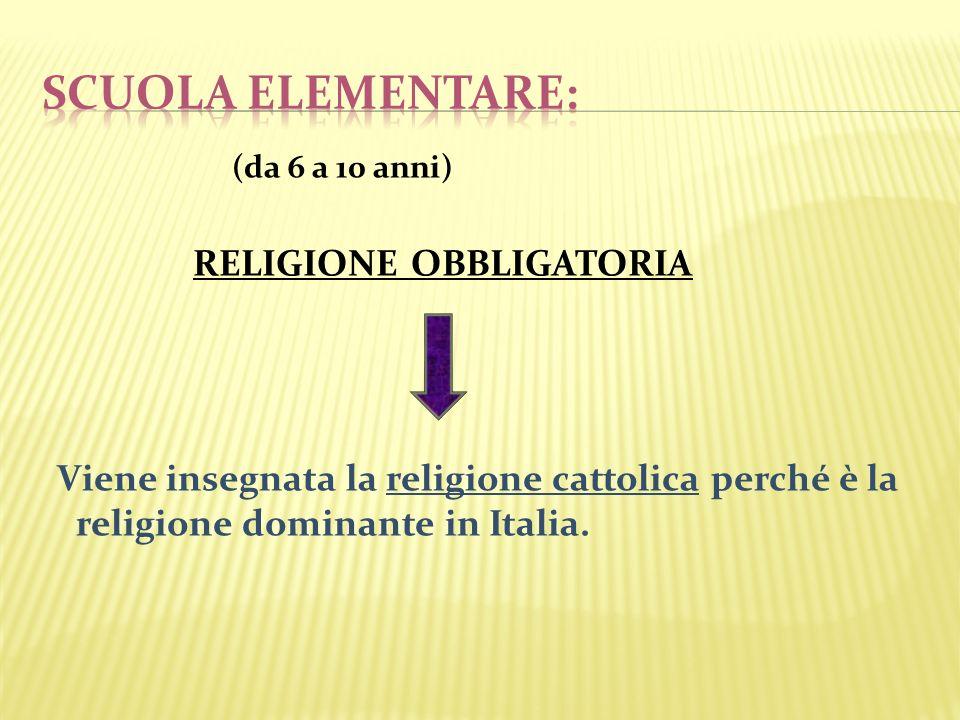 scuola elementare: RELIGIONE OBBLIGATORIA