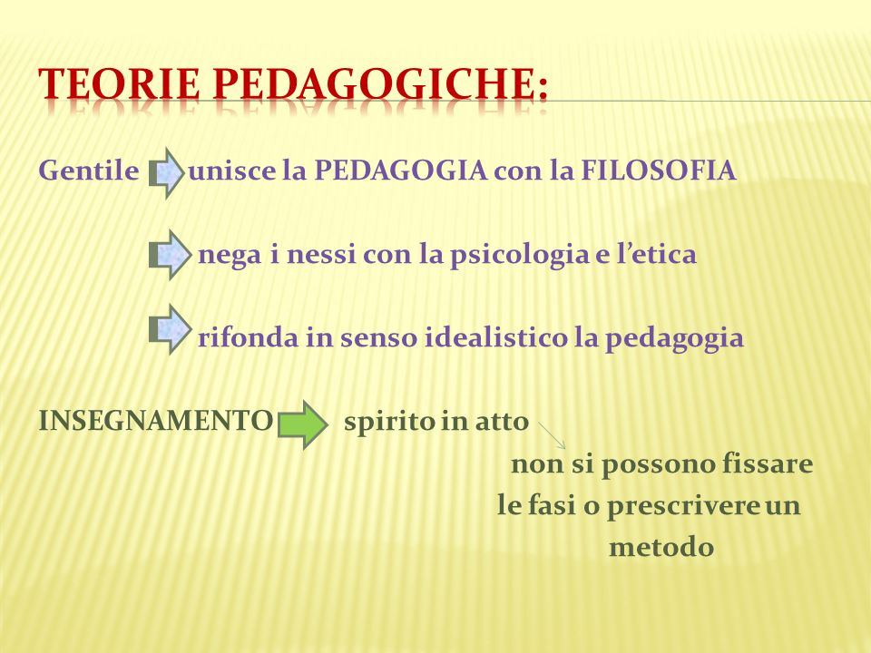 Teorie pedagogiche: Gentile unisce la PEDAGOGIA con la FILOSOFIA