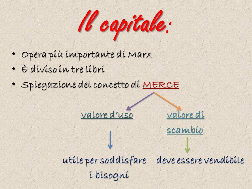 Il capitale: Opera più importante di Marx È diviso in tre libri