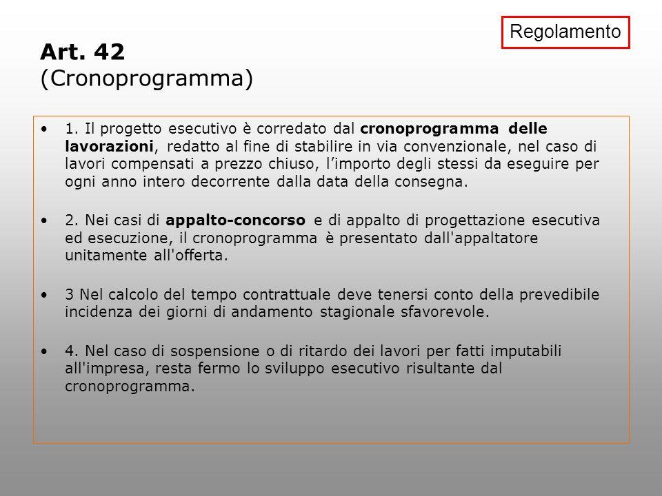 Art. 42 (Cronoprogramma) Regolamento