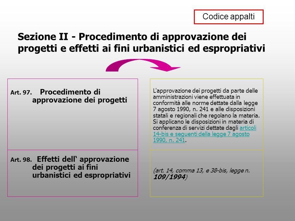 Codice appalti Sezione II - Procedimento di approvazione dei progetti e effetti ai fini urbanistici ed espropriativi.
