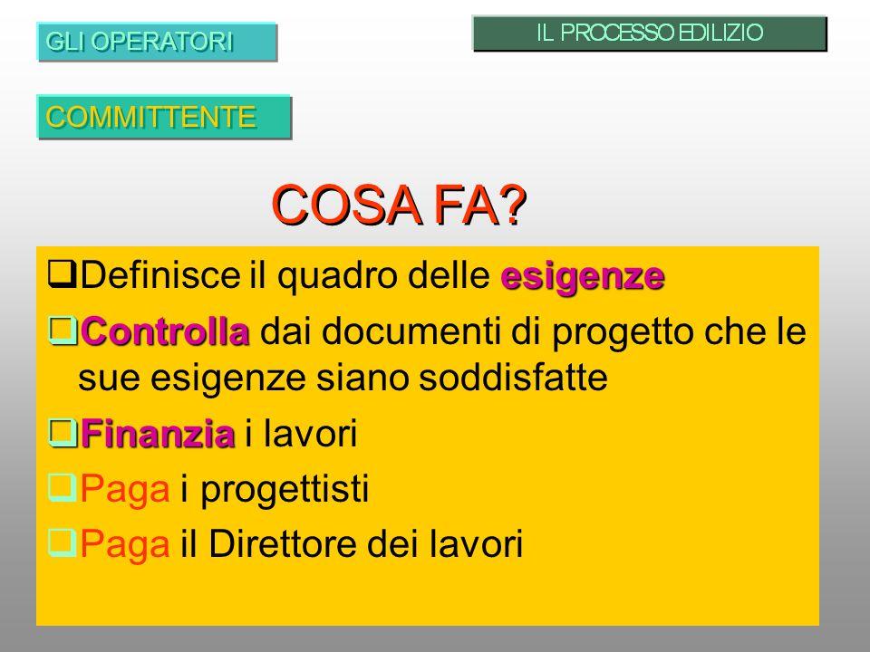 COSA FA Definisce il quadro delle esigenze