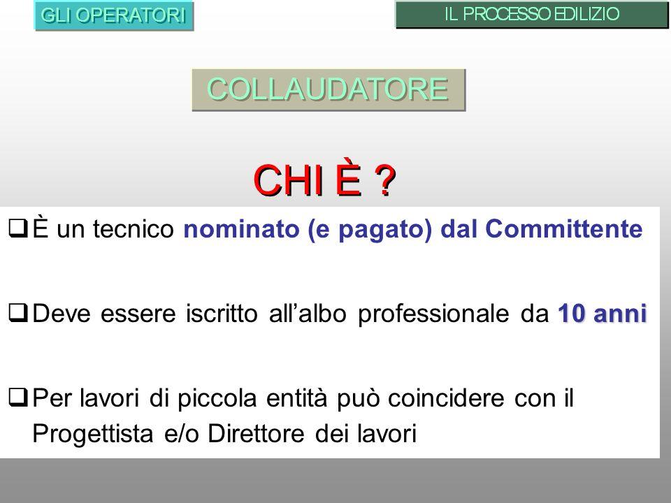 CHI È COLLAUDATORE È un tecnico nominato (e pagato) dal Committente