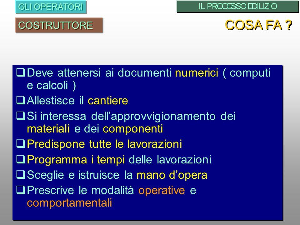COSA FA Deve attenersi ai documenti numerici ( computi e calcoli )