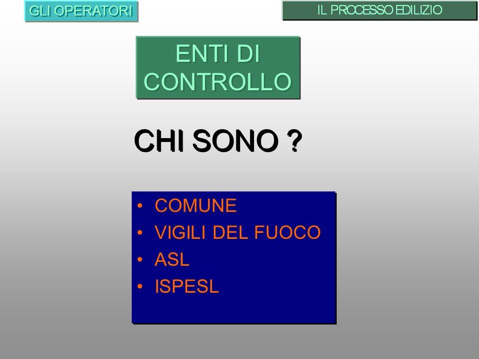 CHI SONO ENTI DI CONTROLLO COMUNE VIGILI DEL FUOCO ASL ISPESL